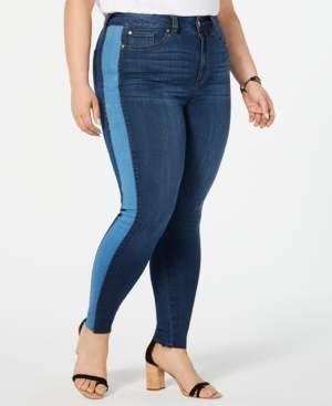 Celebrity Pink Plus Size Contrast-Stripe Skinny Ankle Jeans