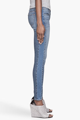 J Brand Two-tone blue Bliss slim Jeans
