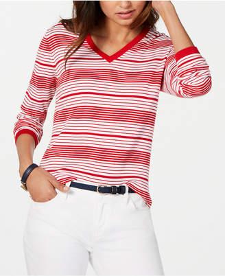 Tommy Hilfiger Striped Cotton V-Neck Sweater