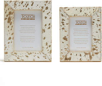 Twos Company Two's Company Golden Natural Cowhide Frames with Metallic Gold Back - Set of 2