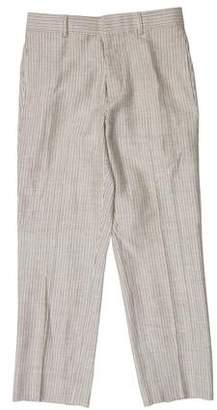 Black Fleece Striped Flat-Front Pants