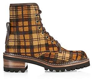 See by Chloe Women's Marta Plaid Calf Hair Lace-Up Boot