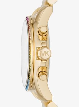 Michael Kors Bradshaw Rainbow Pave Gold-Tone Watch