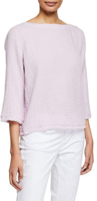 008fe551318 Eileen Fisher Plus Size Bateau-Neck 3 4-Sleeve Organic Cotton Gauze Top