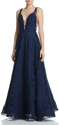 Aqua Plunging Lace Gown - 100% Exclusive
