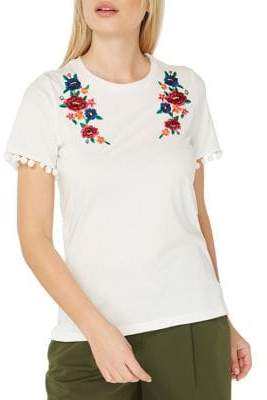 Dorothy Perkins Embroidered Pom-Pom T-Shirt