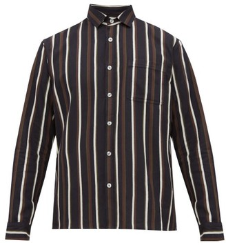 King & Tuckfield - Striped Cotton Twill Shirt - Mens - Black