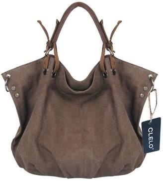 CLELO B406d Vintage Hobo Canvas Genuine Leather Tote Handbag Shoulder Bag