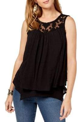 Style&Co. Style & Co. Petite Loose-Fit Layered-Hem Lace-Trim Top