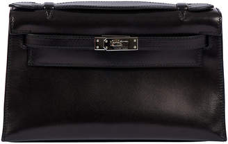 One Kings Lane Vintage Hermes Black Box Calf Kelly Pochette - Vintage Lux
