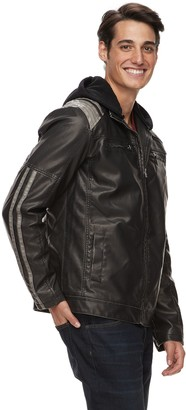 X-Ray Xray Men's XRAY Slim-Fit Washed Faux-Leather Racer Jacket