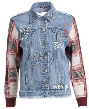 Scripted Distressed Plaid Denim Jacket