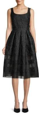 Carmen Marc Valvo Brocade Knee-Length Cocktail Dress