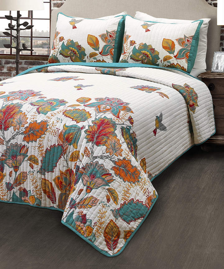 Teal & Orange Bird & Flower Quilt Set