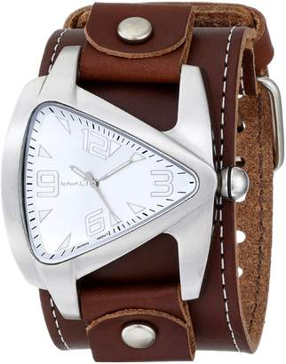 Nemesis Watch Men's BLBB011S Oversized Collection Brown Triangle Leather Band Watch