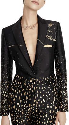Schiaparelli Gold Moon Flecked Blazer Jacket
