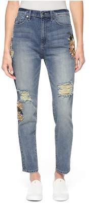 Floral Embroidered Girlfriend Jean