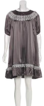Thomas Wylde Silk Mini Dress Grey Silk Mini Dress