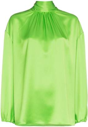 Prada pussy-bow high-neck blouse