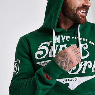 River Island Superdry green vintage logo print hoodie