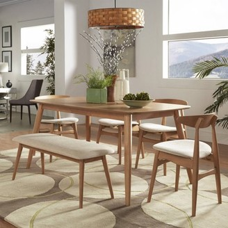 """Weston Home Chelsea Lane Mid Century Modern 6 pc Dining Set, 60"""" Dining Table, Multiple Finishes"""