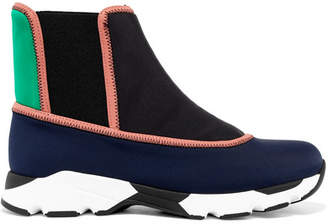Marni Color-block Neoprene Slip-on High-top Sneakers - Midnight blue
