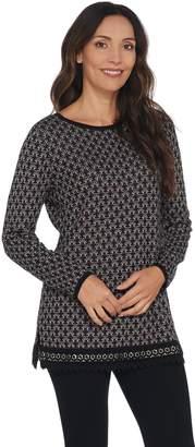 Susan Graver Cotton Rayon Jacquard Tunic Sweater with Lace Trim