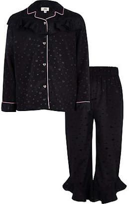 River Island Girls navy heart ruffle satin pyjama set
