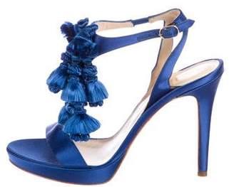 Versace Satin Tassel Ankle Strap Sandals