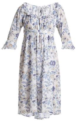 Thierry Colson Chintz Antoinette Printed Cotton Dress - Womens - Blue White