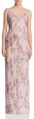Aidan Mattox Appliquéd Lace Gown