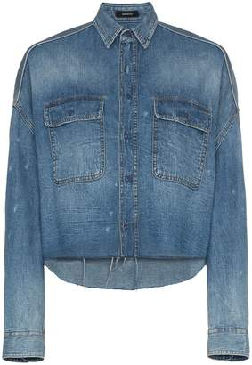 R 13 cropped denim shirt