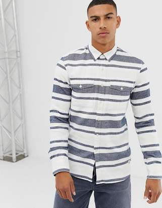 Tom Tailor slim fit shirt in flannel herringbone stripe in white and blue
