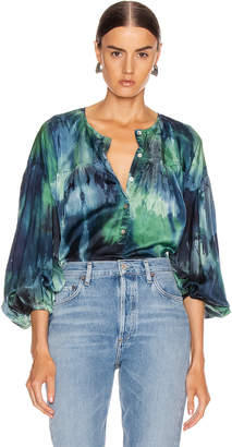 Raquel Allegra Poet Top in Jade Tie Dye | FWRD