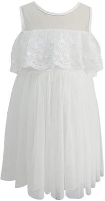 Popatu Toddler & Big Girls White Lace Off Shoulder Dress