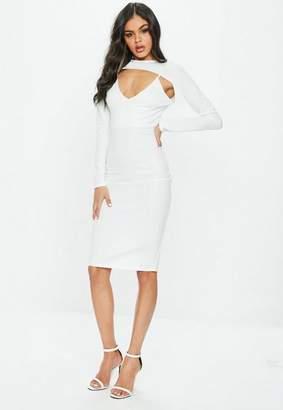 Missguided White Long Sleeve 2 Piece Midi Dress