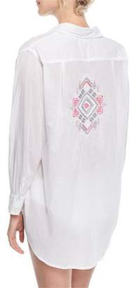Letarte Button-Front Long-Sleeve Gauze Coverup Shirt w/ Embroidery