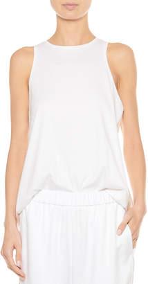 Tibi Mercerized Knit Shirred-Back Tank