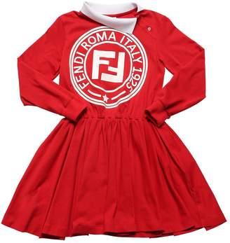 Fendi Rubber Logo Cotton Jersey Dress