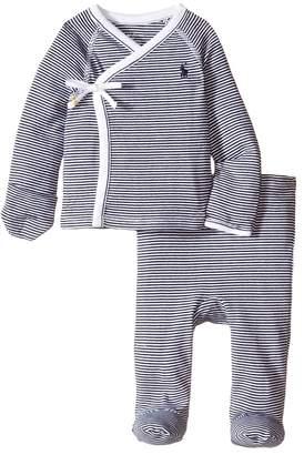 Ralph Lauren Yarn-Dyed Stripe Kimono Two-Piece Pants Set Boy's Active Sets