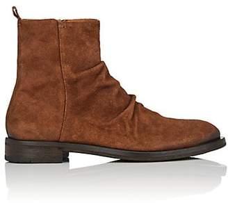 Elia Maurizi Men's Wrinkled-Vamp Suede Boots - Brown