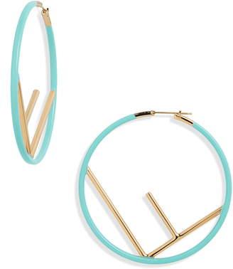 Fendi Large Logo Hoop Earrings