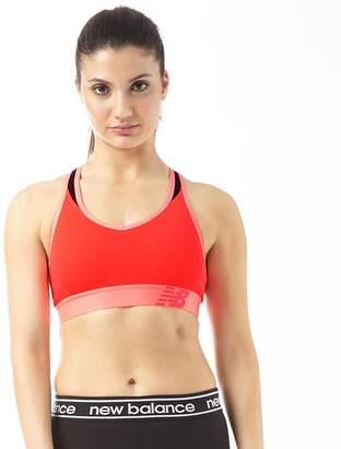 New Balance Womens Pace Sports Bra Top Vivid Coral
