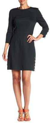 Trina Turk Flush 3/4 Sleeve Button Trimmed Dress