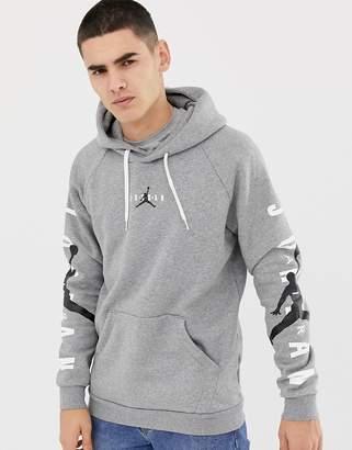 Jordan Nike Logo Pullover Hoodie In Grey AT4911-091