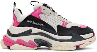 Balenciaga Pink and White Triple S Sneakers