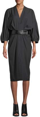 Narciso Rodriguez Full-Sleeve Cotton Poplin Midi Wrap Dress