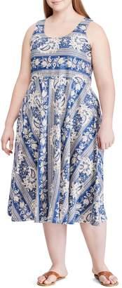 Chaps Plus Floral Cotton Jersey Fit--Flare Dress