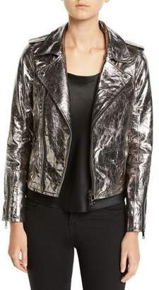 Hudson Metallic Zip-Front Leather Moto Jacket