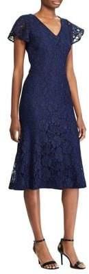 Lauren Ralph Lauren Short Sleeve Lace Midi Dress